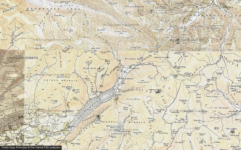 Old Map of Historic Map covering Lingmell Gill in 1903-1904
