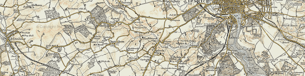 Old map of Amor Hall in 1898-1901
