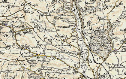 Old map of Washfield in 1898-1900
