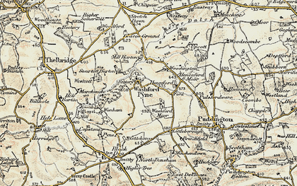 Old map of Westcott in 1899-1900