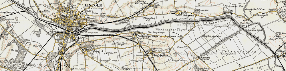 Old map of Willingham Fen in 1902-1903