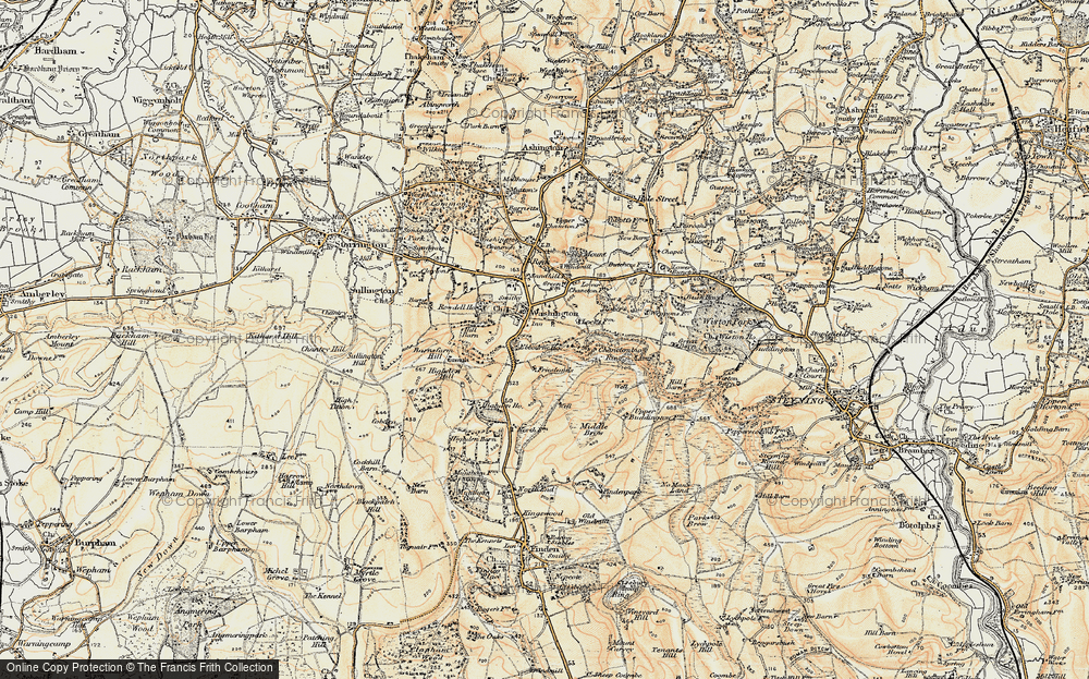 Old Map of Historic Map covering Chanctonbury Ring in 1898