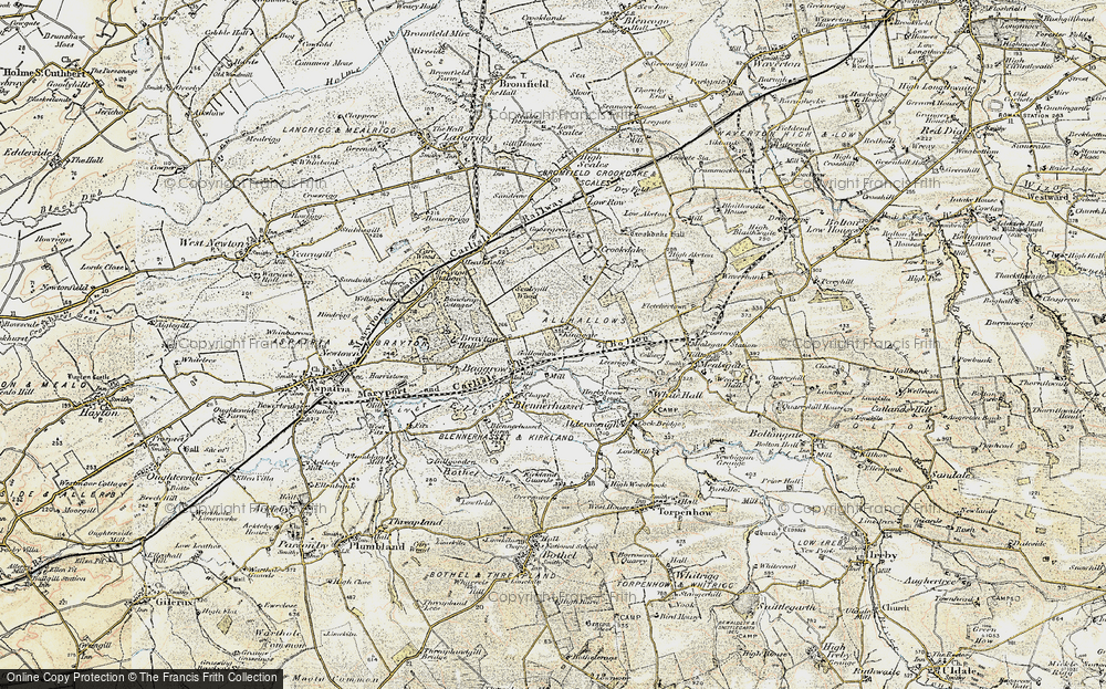 Old Map of Historic Map covering Aldersceugh in 1901-1904