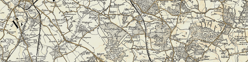 Old map of Water End in 1897-1898