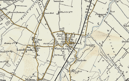 Old map of Waterbeach in 1899-1901