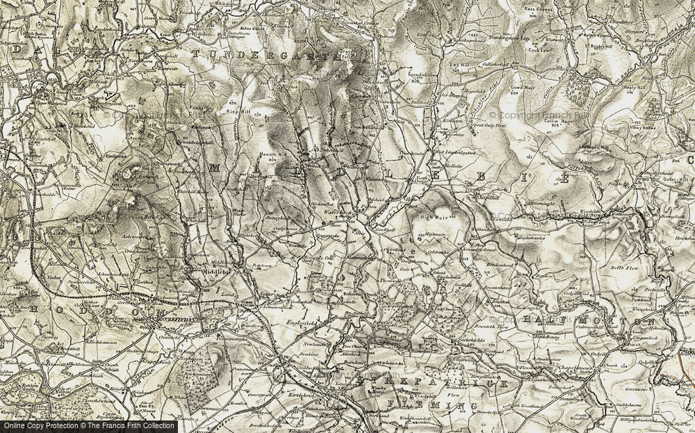 Old Map of Historic Map covering Albie in 1901-1904