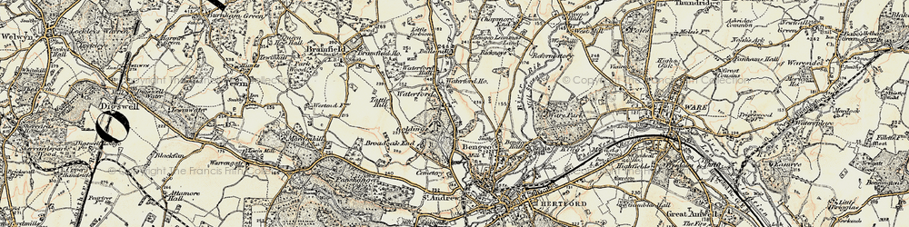 Old map of Waterford in 1898-1899