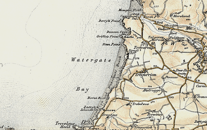 Old map of Watergate Bay in 1900