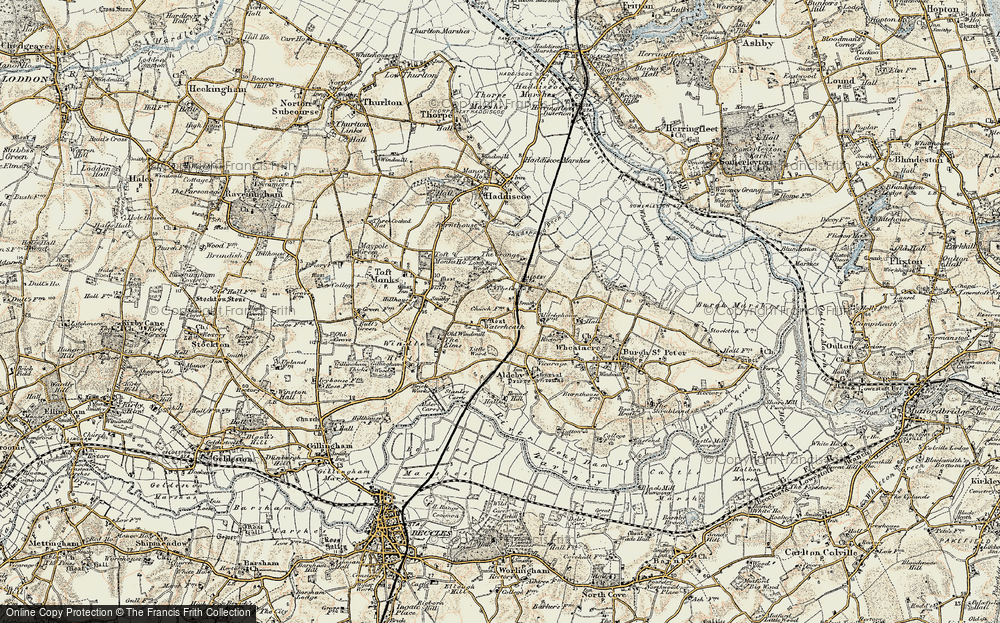 Old Map of Historic Map covering Toft Monks Ho in 1901-1902