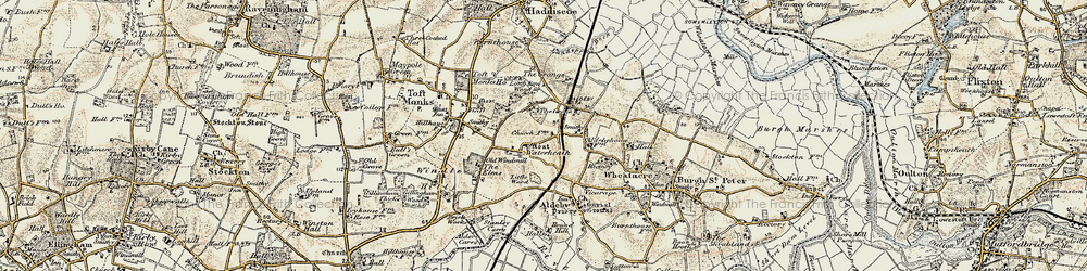 Old map of Toft Monks Ho in 1901-1902