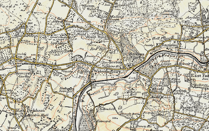 Old map of Wateringbury in 1897-1898