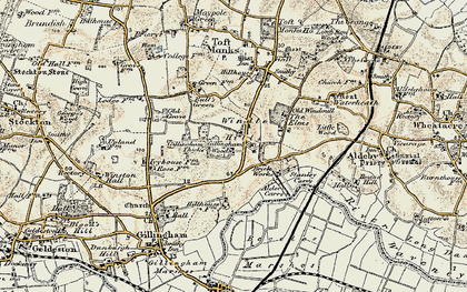 Old map of Alder Carrs in 1901-1902