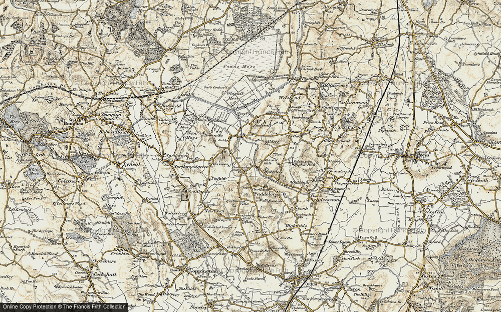 Old Map of Historic Map covering Lawn, The in 1902