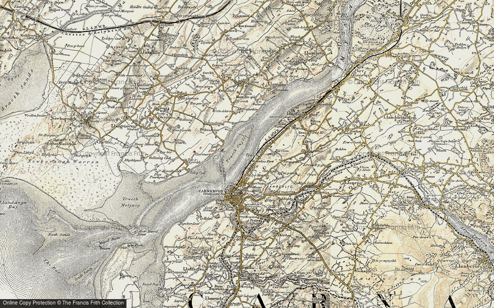 Old Map of Historic Map covering Afon Cadnant in 1903-1910