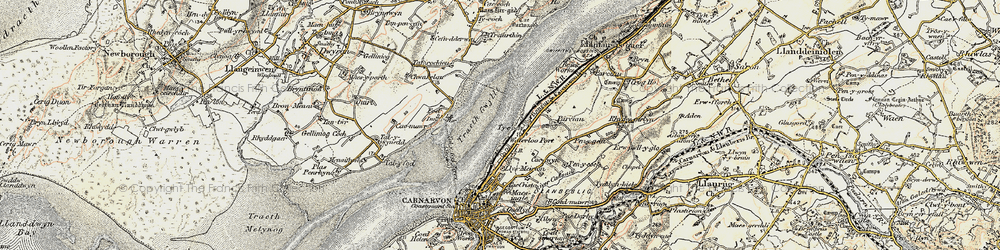 Old map of Afon Cadnant in 1903-1910