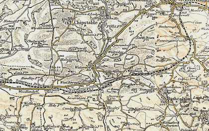 Old map of Waterrow in 1898-1900