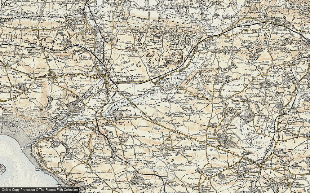 Old Map of Historic Map covering Brocastle in 1899-1900