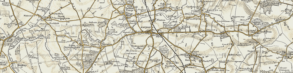 Old map of Watton in 1901-1902