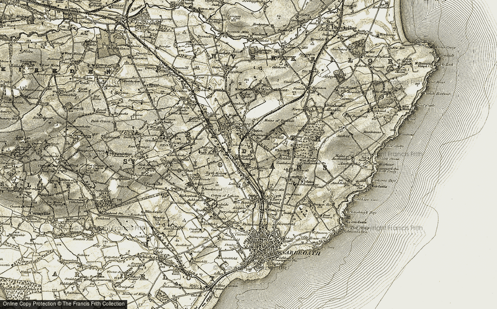Old Map of Historic Map covering Letham Grange in 1907-1908