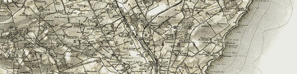 Old map of Letham Grange in 1907-1908