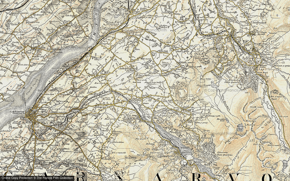 Old Map of Historic Map covering Bach yr Hilfry in 1903-1910
