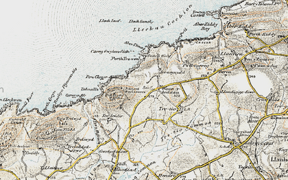Old map of Aberdinas in 0-1912