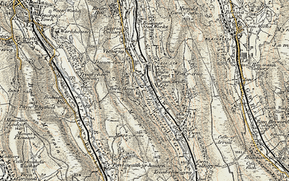 Old map of Waunlwyd in 1899-1900