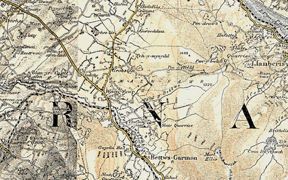 Old map of Waunfawr in 1903-1910