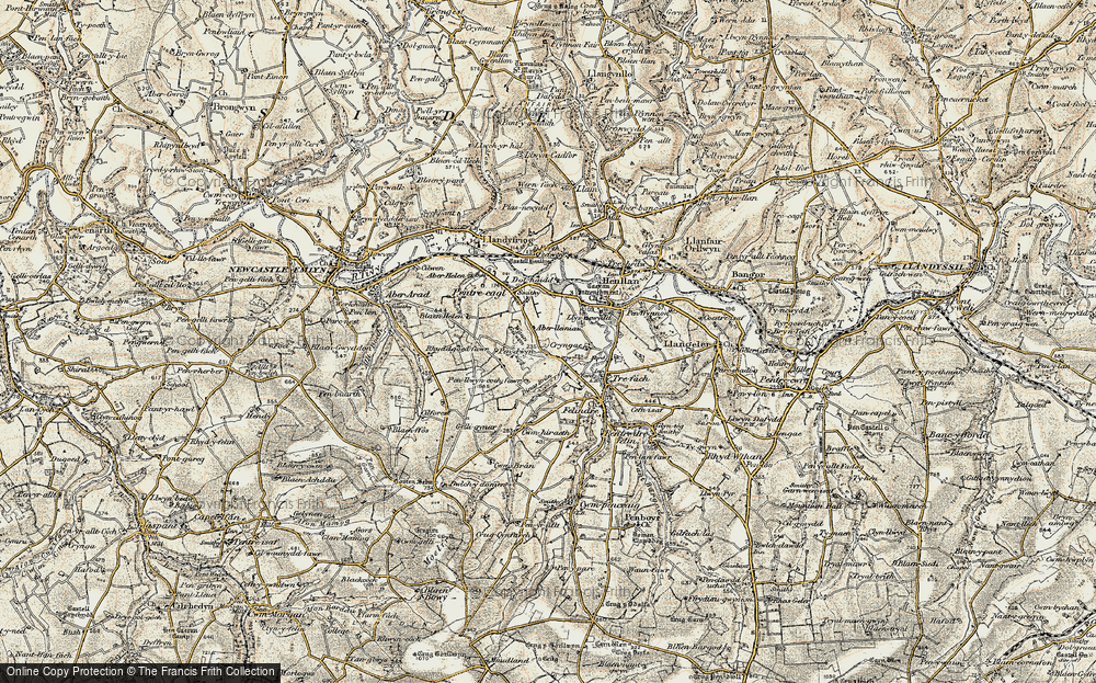 Old Map of Historic Map covering Aberlleinau in 1901