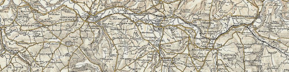 Old map of Aberlleinau in 1901