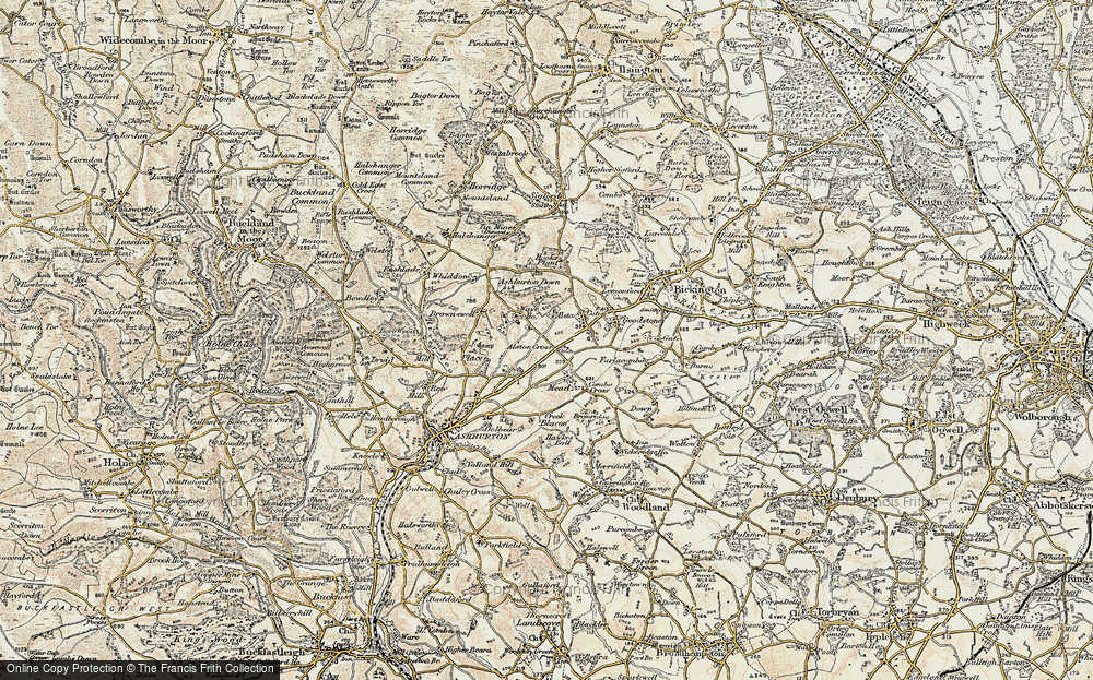 Old Map of Historic Map covering Ashburton Down in 1899