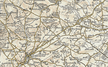 Old map of Ashburton Down in 1899