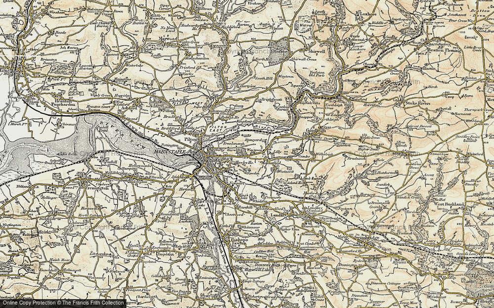 Old Map of Historic Map covering Lilly in 1900