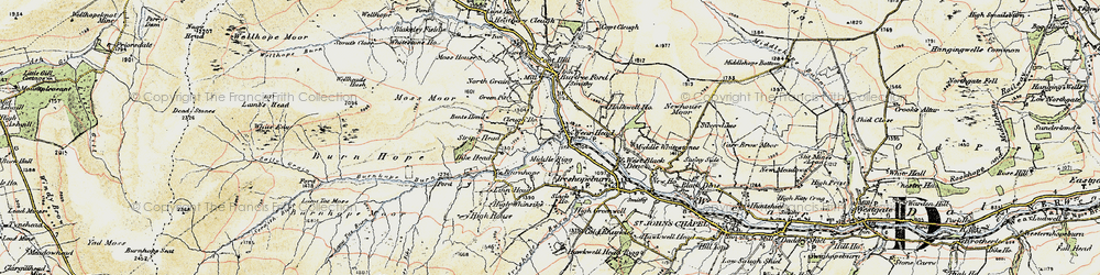 Old map of Wearhead in 1901-1904