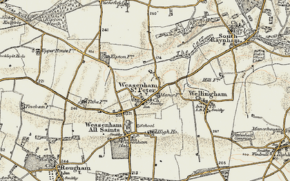 Old map of West Raynham Airfield in 1901-1902