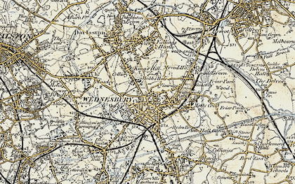Old map of Wednesbury in 1902