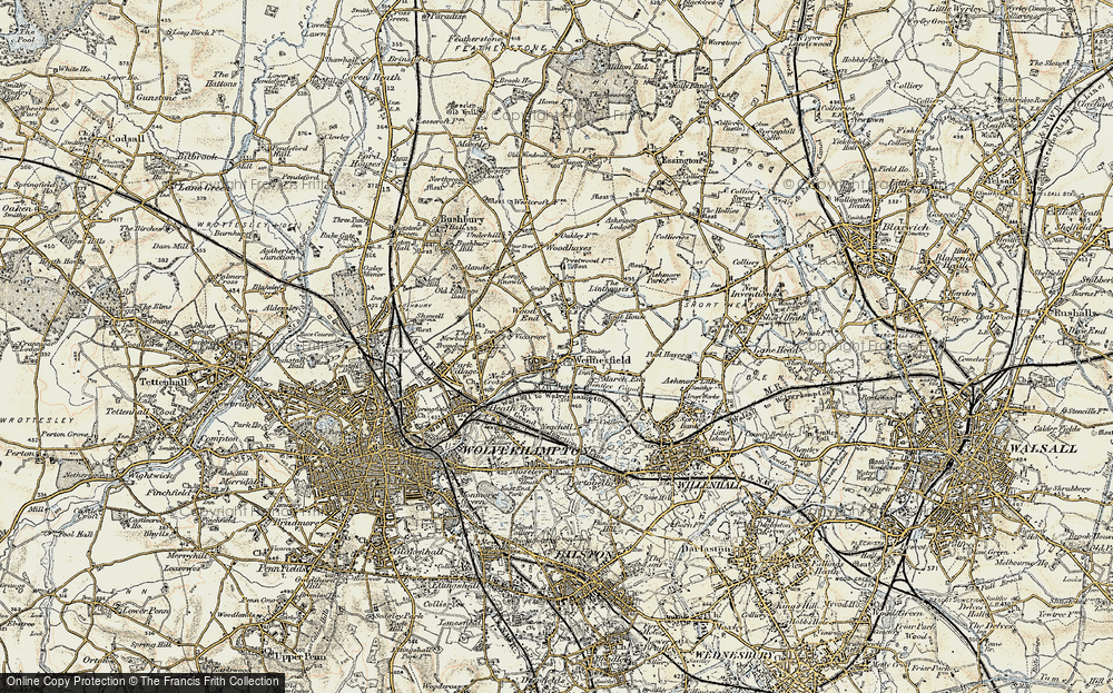 Old Map of Wednesfield, 1902 in 1902