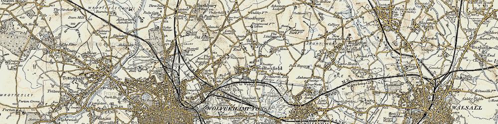 Old map of Wednesfield in 1902