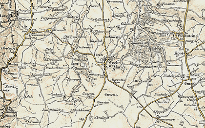 Old map of Week St Mary in 1900