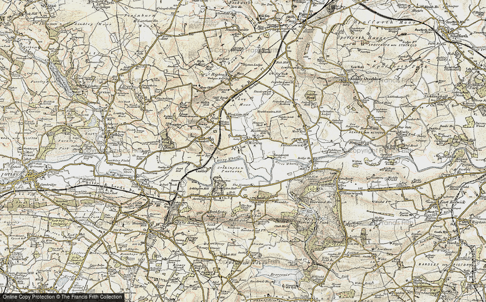 Old Map of Historic Map covering Arthington Pastures in 1903-1904