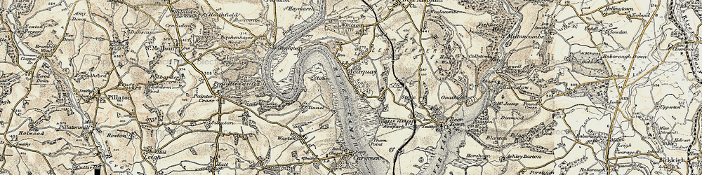 Old map of Tinnell in 1899-1900