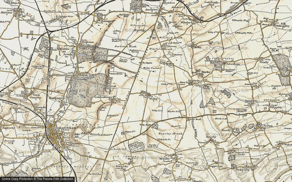 Old Map of Historic Map covering Abney Wood in 1902-1903