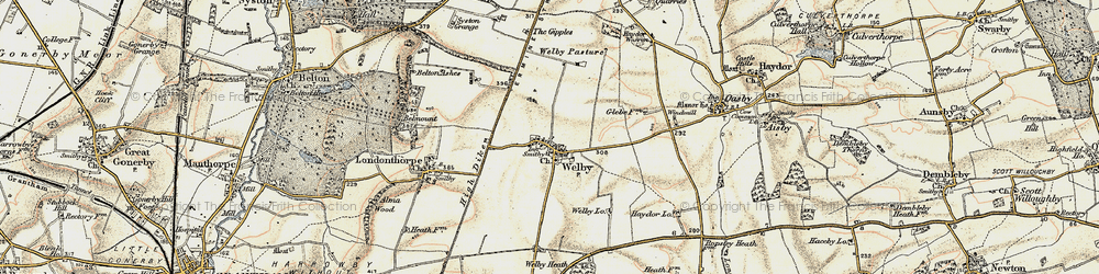 Old map of Abney Wood in 1902-1903