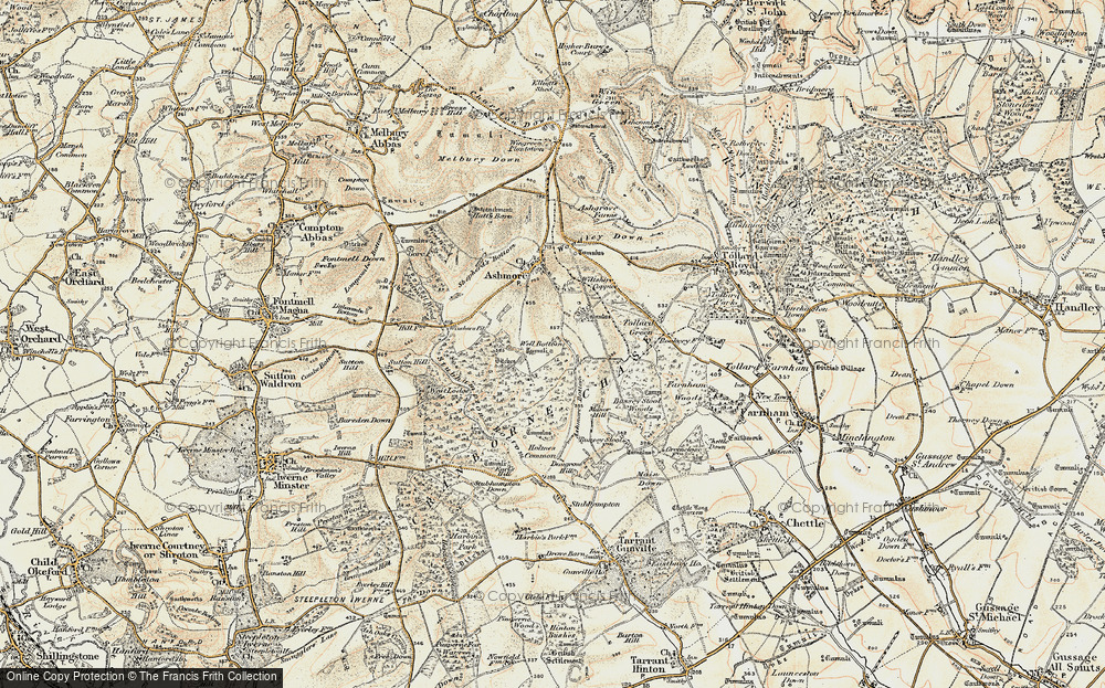 Old Map of Historic Map covering Ashmore Wood in 1897-1909