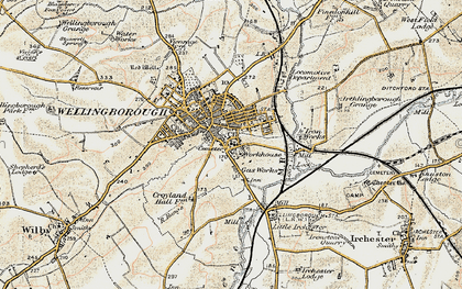 Old map of Wellingborough in 1901