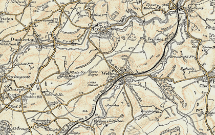 Old map of Wellow in 1898-1899