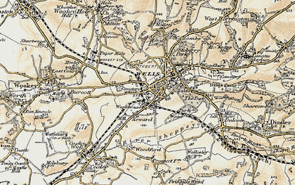 Old map of Wells in 1899