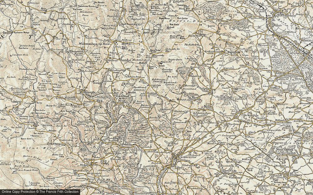 Old Map of Historic Map covering Ausewell Cross in 1899