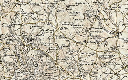 Old map of Ausewell Cross in 1899