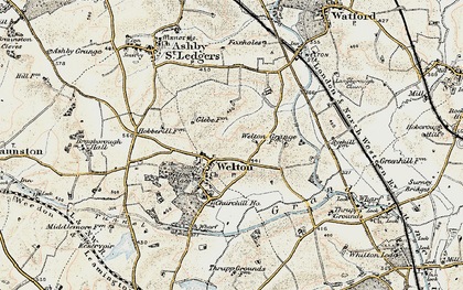 Old map of Welton in 1901